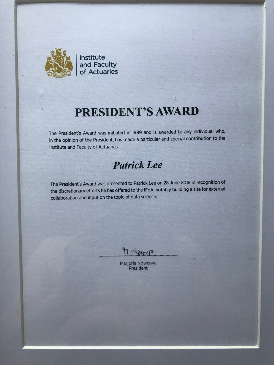 President's Award for input on the topic of data science