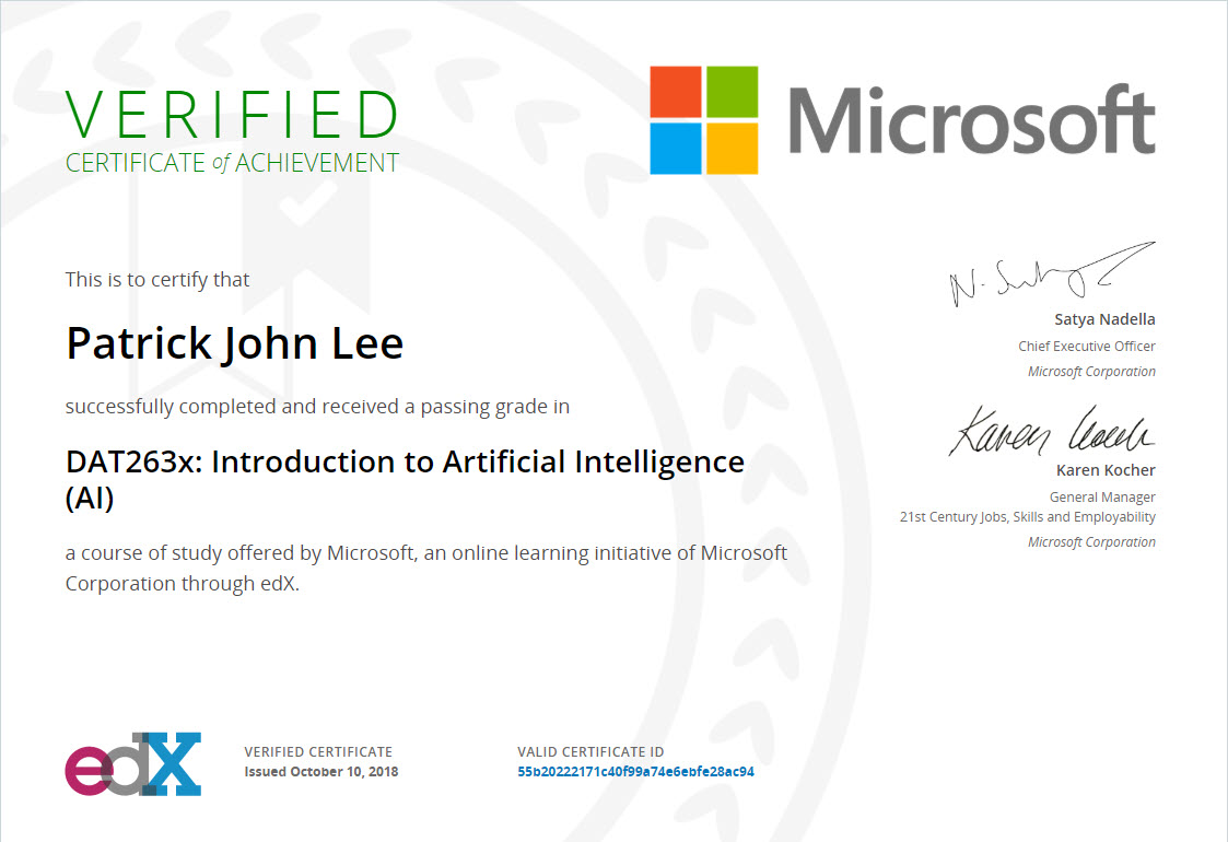 Another Microsoft Course Completed Introduction To Artificial