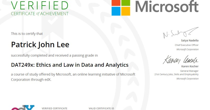 Another Microsoft course completed: Ethics and Law in Data and